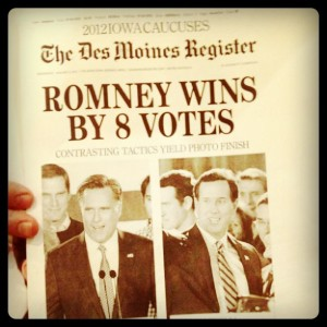 Romney Wins by 8 votes